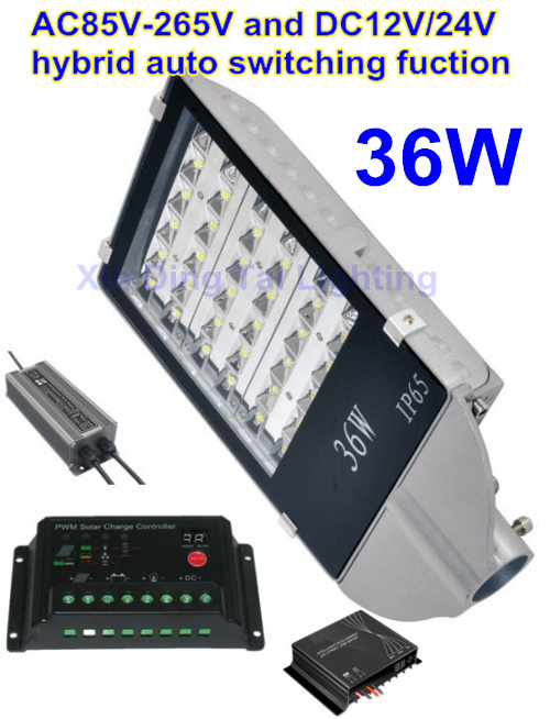 36W LED Lamp Street Lights with Solar controller AC85-265V DC12V/24V hybrid auto switching function for street lighting system dc12v 24v 36w led street light outdoor waterproof ip65 road light 36w led street lamp for dc power supply system
