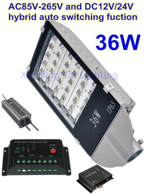 Réverbères de 36 W lampe à LED avec la fonction de commutation automatique hybride du contrôleur solaire AC85-265V DC12V/24 V pour le système d'éclairage public