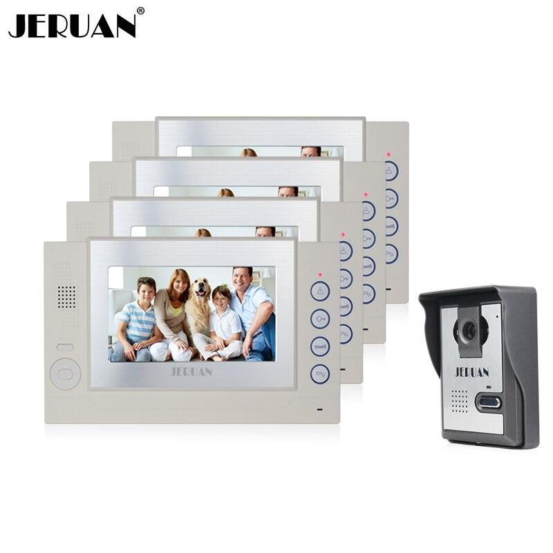 JERUAN 7 inch video door phone speaker intercom system video doorphone doorbell 4 monitor 1 camera recording free shipping