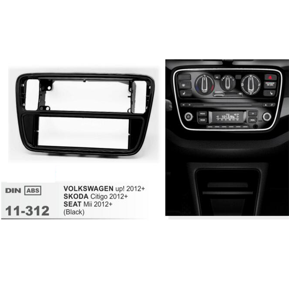11-312 Double 2 Din Car Radio DVD Panel Kit Facia for SKODA Citigo 2012+ For VW 2012+ SEAT In dash Stereo frame Kit