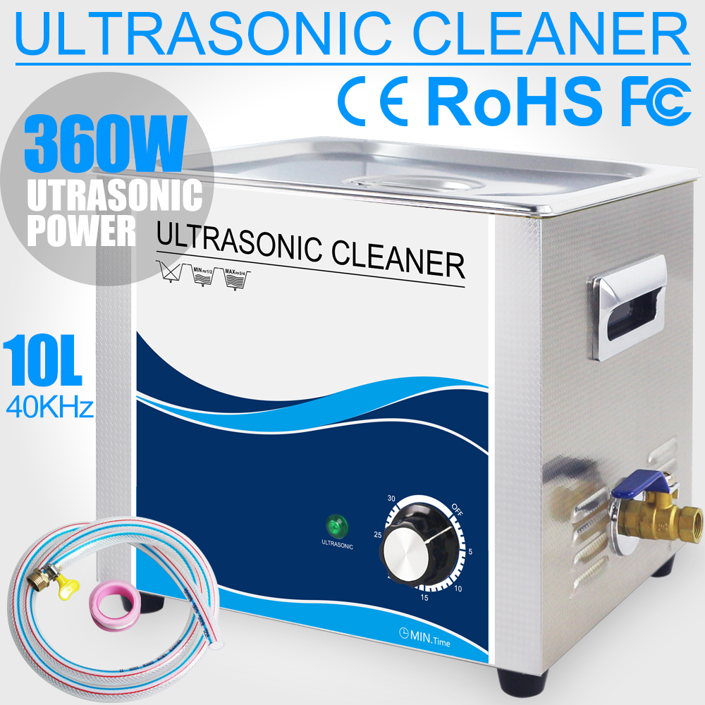 360W Ultrasonic Cleaner 10L Stainless Bath 110V/220V 40KHZ Ultrasound Wash Remove Oil Rust Dust Dental Hardware Lab Instrument