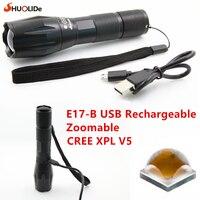 2017 SHuoLi De New E17-C Cree XPL V5 1200 lumen USB Rechargeable led Flashlight Zoomable Torch light for 18650 led lamp