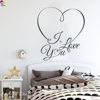 Heart I Love You Wall Sticker Bedroom Wedding Decor Living Room Love Heart Family Quote Wall