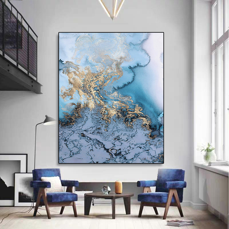 Laeacco Abstract Canvas Painting Calligraphy Watercolor Marble Poster And Prints Wall Art Pictures For Living Room Home Decor