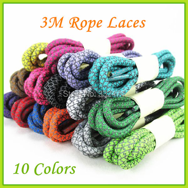 2016  New 3M Rope Laces Round 3M Reflective Rope Shoelaces 5 Pairs Festival Gift Shoelace On Sale jup 50 pairs sneaker shoelaces skate boot laces outdoor sport casual multicolor bumps round shoelace hiking slip rope shoe laces