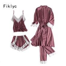 Fiklyc roupa interior feminina sexy quatro peças pijama define calças curtas + calças compridas + tops + roupões de banho laço do falso conjuntos de pijamas de seda