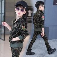 2017 New Uniform Suit For Children Autumn Kids Set Clothing Military Camouflage 2 Pieces Jacket+Pants European Style Sport Suit