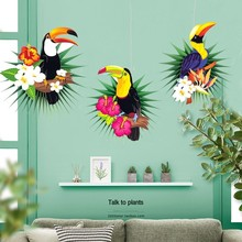 Hawaiian Decorations Tropical Party 3pcs Hanging Paper Fans Flamingo Toucan Palm Leaves Pattern Summer Birthday Luau Decor