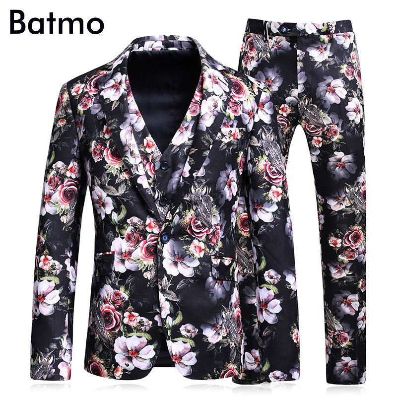 Batmo 2018 new arrival high quality printed Single Breasted casual suits men,mens weddin ...