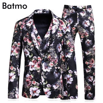 Batmo 2018 new arrival high quality printed Single Breasted casual suits men,men's wedding dress,plus-size S-5XL 6127