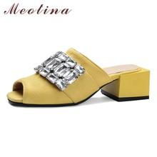 Meotina Shoes Women 2018 Summer Women Sandals Rhinestone Slides Open Toe Crystal Ladies Slippers Yellow Black Plus Size 11 12 46