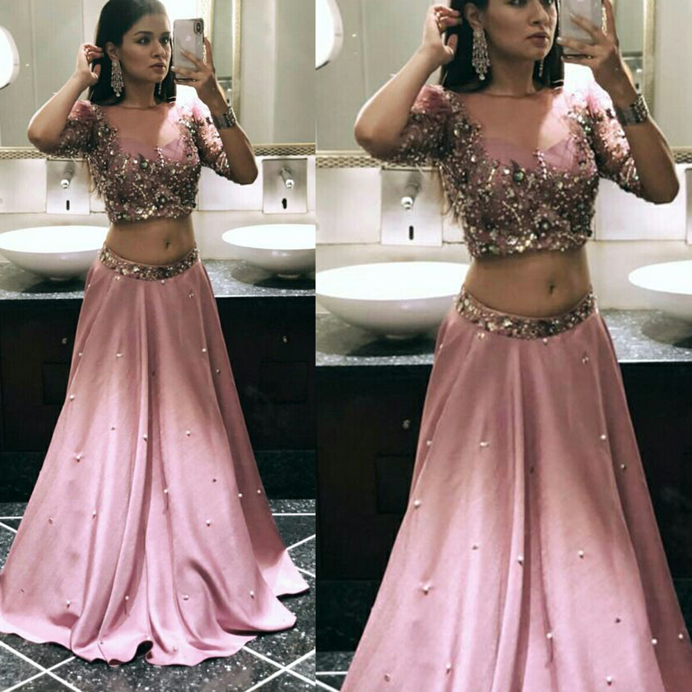 two pieces   prom     dresses   2019 half sleeve crystal evening   dresses   pearls beaded evening gowns vestidos de fiesta pink