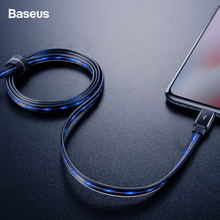 Baseus LED Glow USB Cable For iPhone Xs X 8 7 6 Flat Flowing 2.4A Data Sync Cable Fast Charging Cable Wire Cord For iPhone iPad