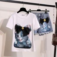 2019 Summer 2 Pieces Jeans Suits Women Cat Print Cotton T Shirts Bow Tshirt+Denim short Pants Sets