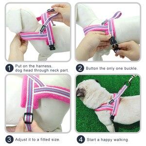 Поводок для собак, Жилет без тяги, Светоотражающий Поводок для собак, мягкие шлейки для щенков, регулируемые для маленьких средних и больших собак XS S M L