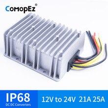 12 V-24 V 21A 25A напряжение постоянного тока преобразователь Водонепроницаемый IP68 CE сертифицированный 12VDC для 24VDC 21AMP 12V 24V повышающий преобразователь постоянного тока