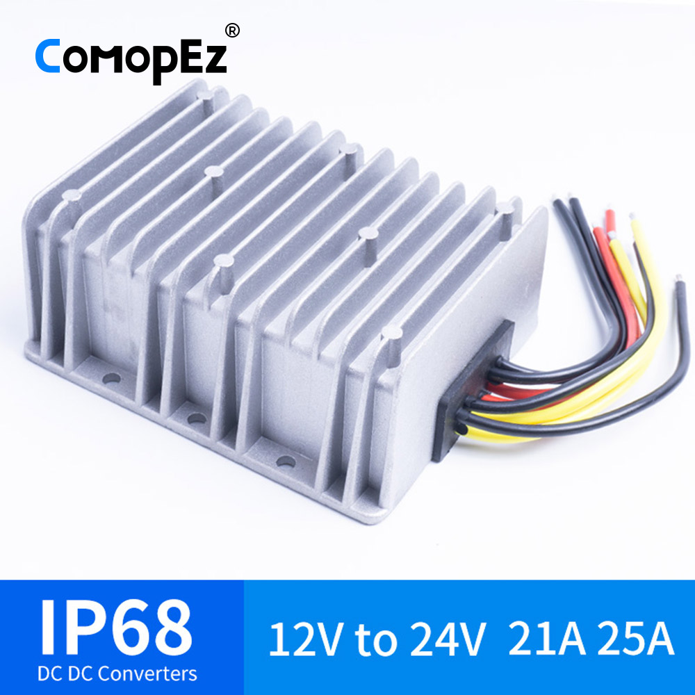 12 V à 24 V 21A 25A DC convertisseur de tension étanche IP68 CE certifié 12VDC à 24VDC 21AMP 12 V 24 V Boost convertisseur