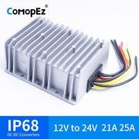 12V TO 24V 21A 25A DC DC Voltage Converter Waterproof IP68 CE Certificated 12VDC to 24VDC 21AMP 12V 24V Boost Converter