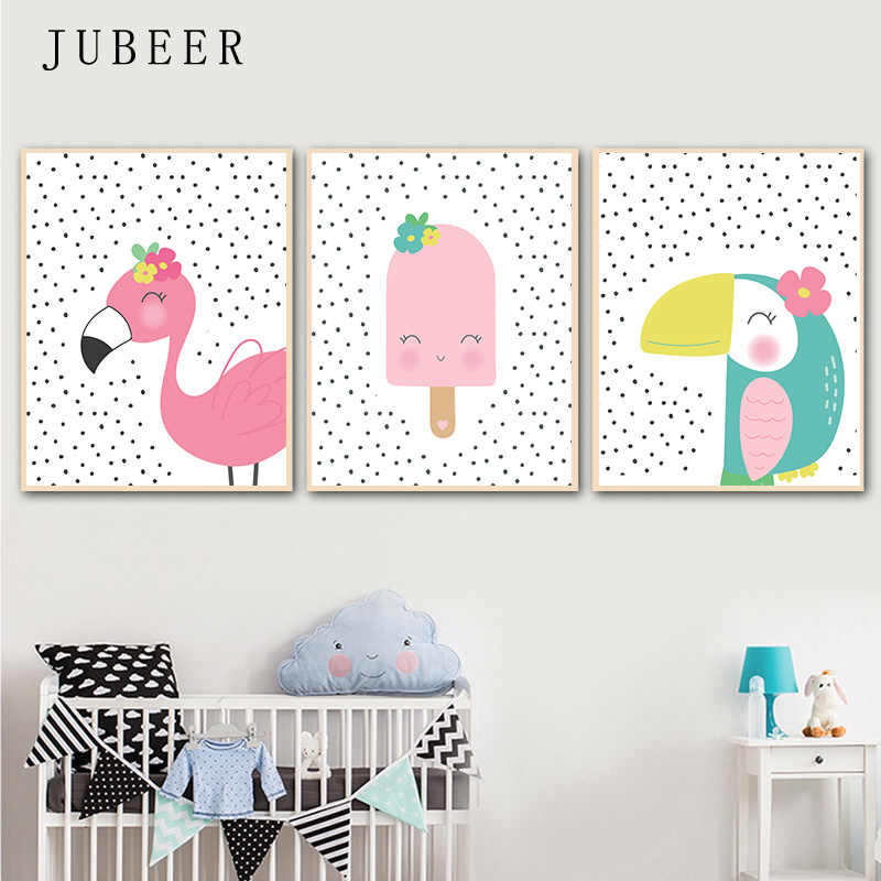 Scandinavian Style Poster Toucandots Flamingodots Cute Animal Wall Art Canvas Painting for Baby Room Kids Bedroom Children Decor