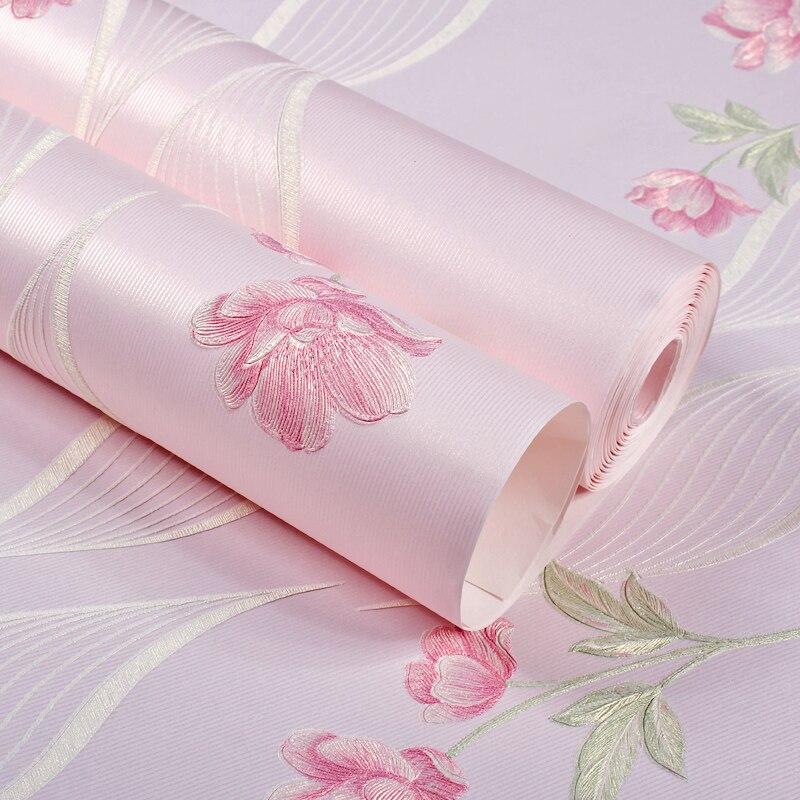 Girls Bedroom Wallpaper 3D Romantic Rustic Wall Paper for Children Room Walls Non-woven Wallpaper Princess Pink Beige Purple