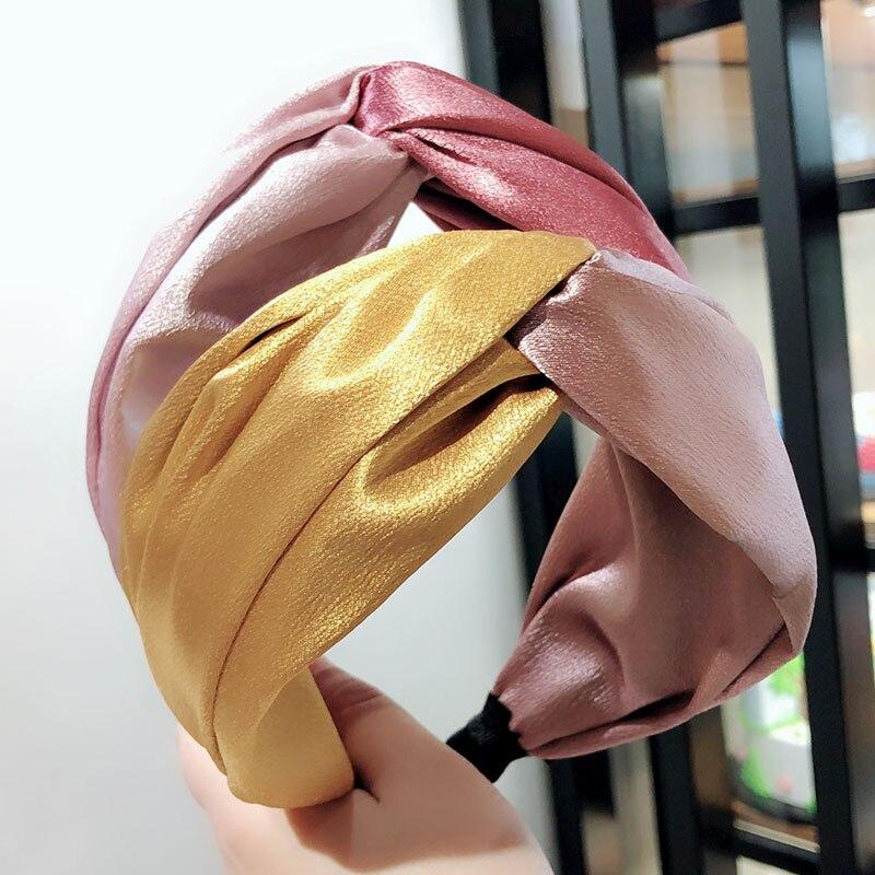 2019 New Style Silk Cross Headband For Women Lady Bohemian Party Head Hoop Band Elastic Turban Bow Hairband Hair Accessories
