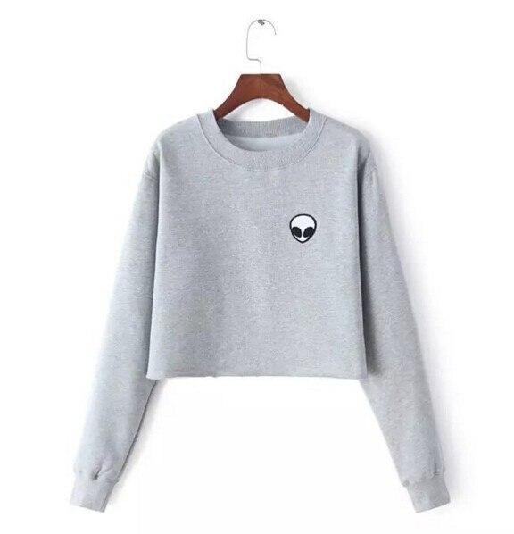 8d53780d594 Girls Women Spring Autumn Casual Pullovers Hoodies Sweatshirt Ladies Loose  Alien Embroidery Hoodies Tops