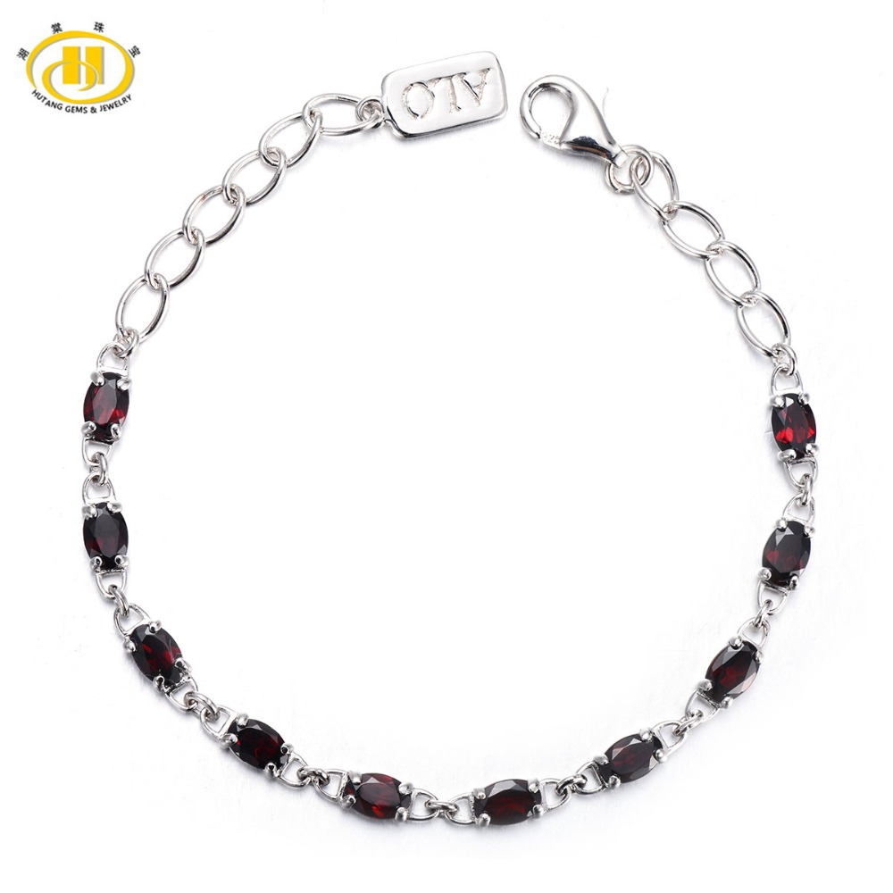 Hutang Trendy 5.7Ct Natural Garnet Solid Barcelet 925 Sterling Silver Link Bracelet for Women Oval Gemstone Fine Jewelry Gift