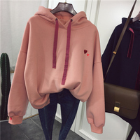 New Autumn And Winter All Match Pink Color V Neck Hooded Loose Hoodie Jacket Free Shipping