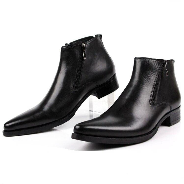 e8c3c3cb5b8e3 Duży rozmiar EUR46 moda czarny/brow tan/niebieskie męskie botki butów  damskich prawdziwej skóry szpiczasty nosek buty człowiek biznesu