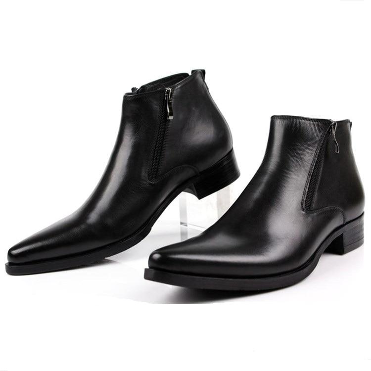 Grande taille EUR46 mode noir/front tan/bleu hommes cheville bottes robe chaussures en cuir véritable bout pointu homme d'affaires chaussures