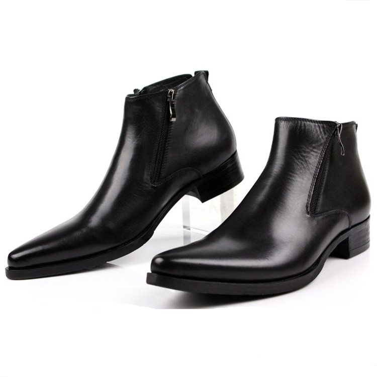 Large size EUR46 fashion black / brow tan / blue mens ankle boots dress shoes genuine leather pointed toe man business shoes