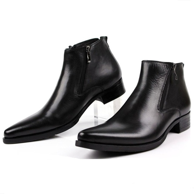 Large size EUR46 fashion black   brow tan   blue mens ankle boots dress  shoes genuine leather pointed toe man business shoes 3dfaf26068fb