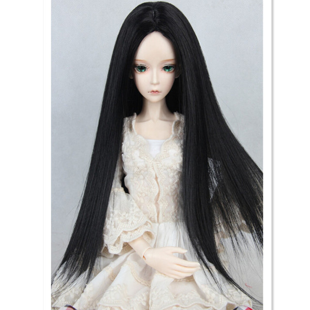 Hot 1/3 1/4 1/6 SD BJD Doll Wig Accessories for Dolls,White Black Color Doll Hair Long Straight Wigs