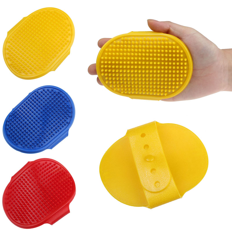 Pet Cleaning Oval Bath Brush Massage Brush Rubber Comb With Adjustable Strap 2JY19