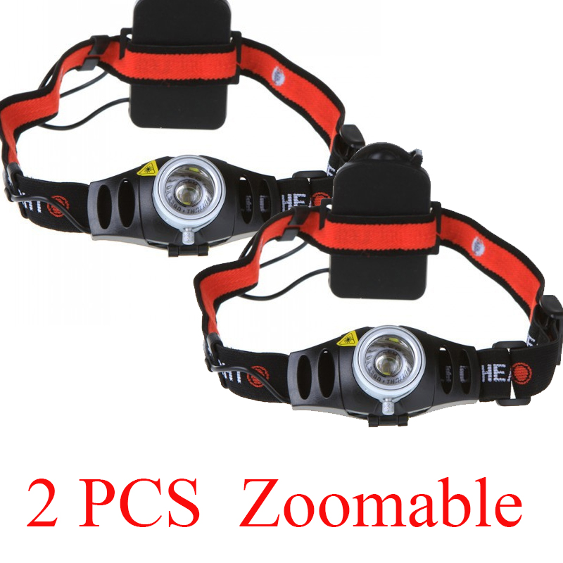 2 PCS 2 mode 1200LM CREE Q5 AAA LED phare Zoomable Zoom Camping Head Light torche étanche lampes de poche