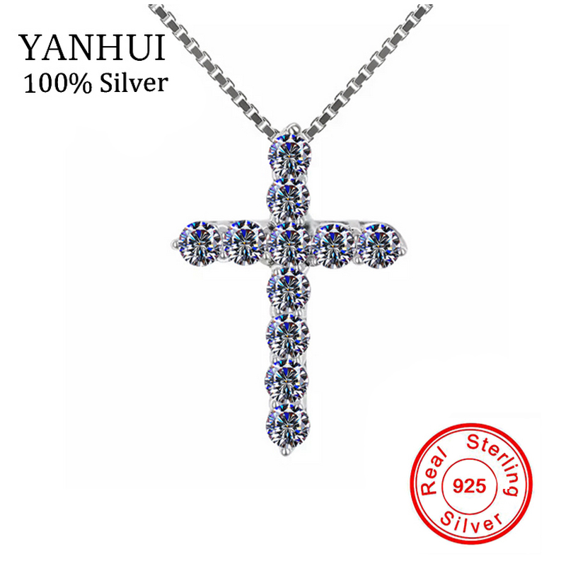YANHUI Luxury 925 Sterling Silver Cross Pendant Necklace Princess Cut Cubic Zirconia Necklace Pendant for Ladies and Women DN10YANHUI Luxury 925 Sterling Silver Cross Pendant Necklace Princess Cut Cubic Zirconia Necklace Pendant for Ladies and Women DN10