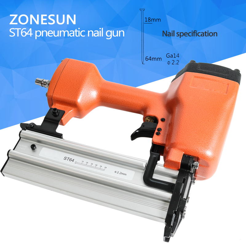 ZONESUN ST64steel iron nail gun Pneumatic micro pinner nailer air brad pin gun for Furniture Wood Sofa woodworking Air Stapler