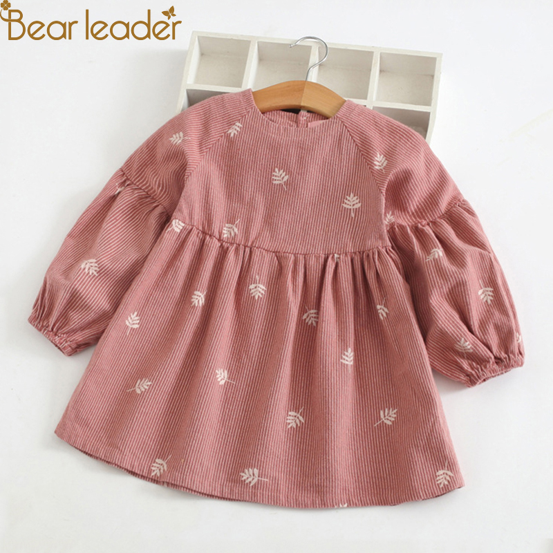Bear Leader Girls Dress 2018 New Autumn Casual O-neck A-Line Striped Full Sleeve Kids Dress For 3T-7T
