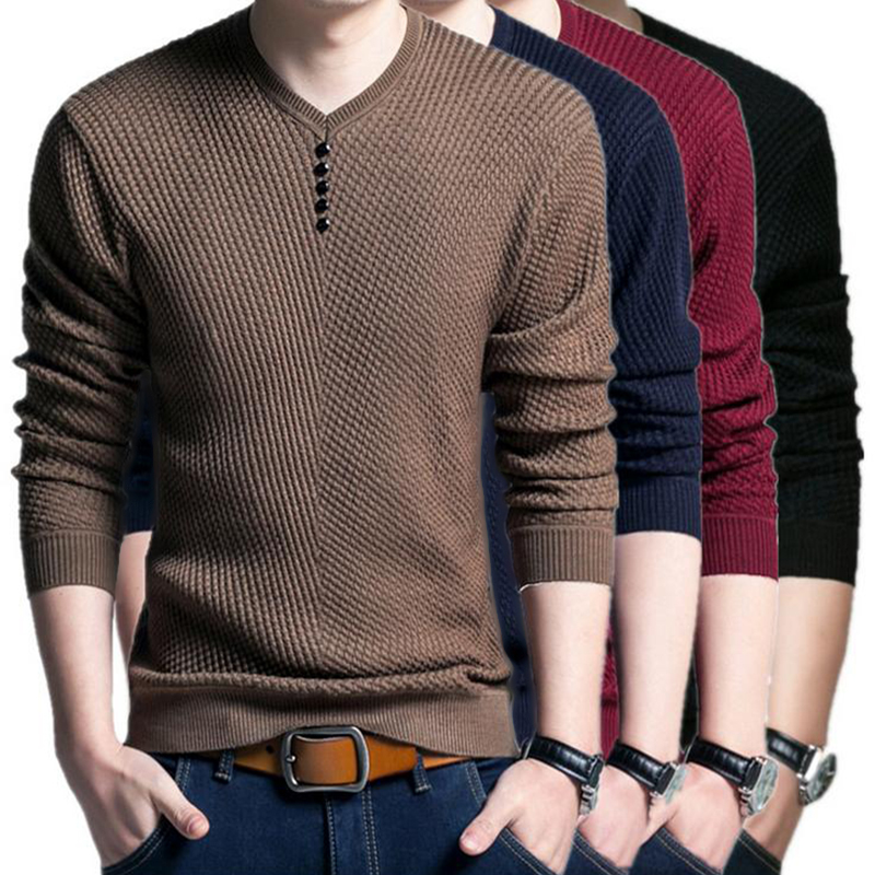Laamei Solid-Sweater Pullover Slim-Fit V-Neck Knitted Long-Sleeve Autumn Men Casual Fashion