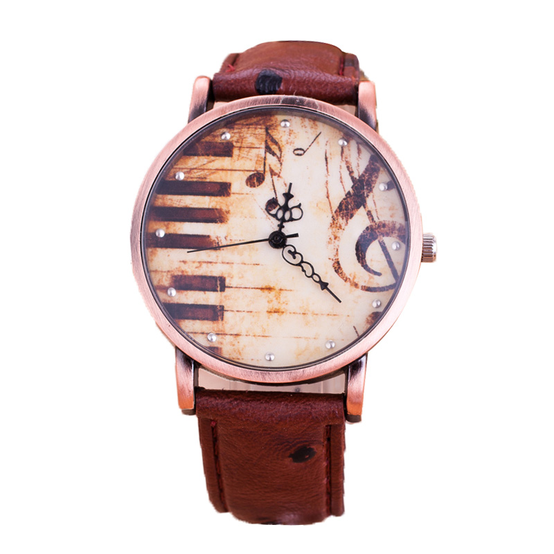 Correa de cuero suave de alta calidad reloj Unsex cuarzo Trendy Music - Relojes para hombres