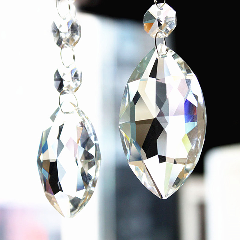 60pcs/lot 38mm Crystal Marquis Clear Suncatcher Chandelier Faceted Pointed Oval Pendant, Crystal Glass Lamp Part,