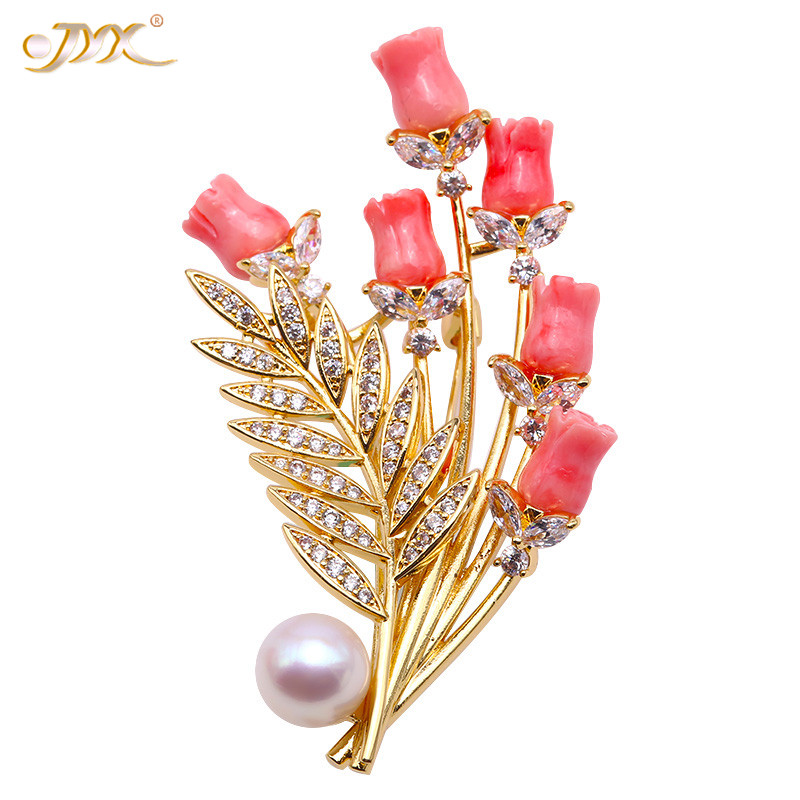 JYX Fine Loving-Birds Whie Freshwater Pearl Brooches Pins Wedding Brooch