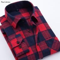 PaulJones 2017 קוריאני מלטש הכותנה Slim Fit שרוול ארוך חולצות גברים המשובץ מסוגננת אדום משובץ שחור חברתי חולצות מקרית