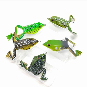 5pcs/BOX 5.5cm 15g Frog Fishing Lures Kit Snakehead Lure Topwater Floating Ray Frog Artificial Bait pesca isca Killer Carp