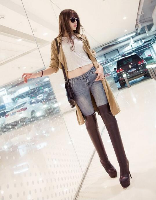Hot Selling White Leather Over The Knee Boots Women Round Toe Short Boots High Heel Boots Warm Sexy Boots Free Shipping