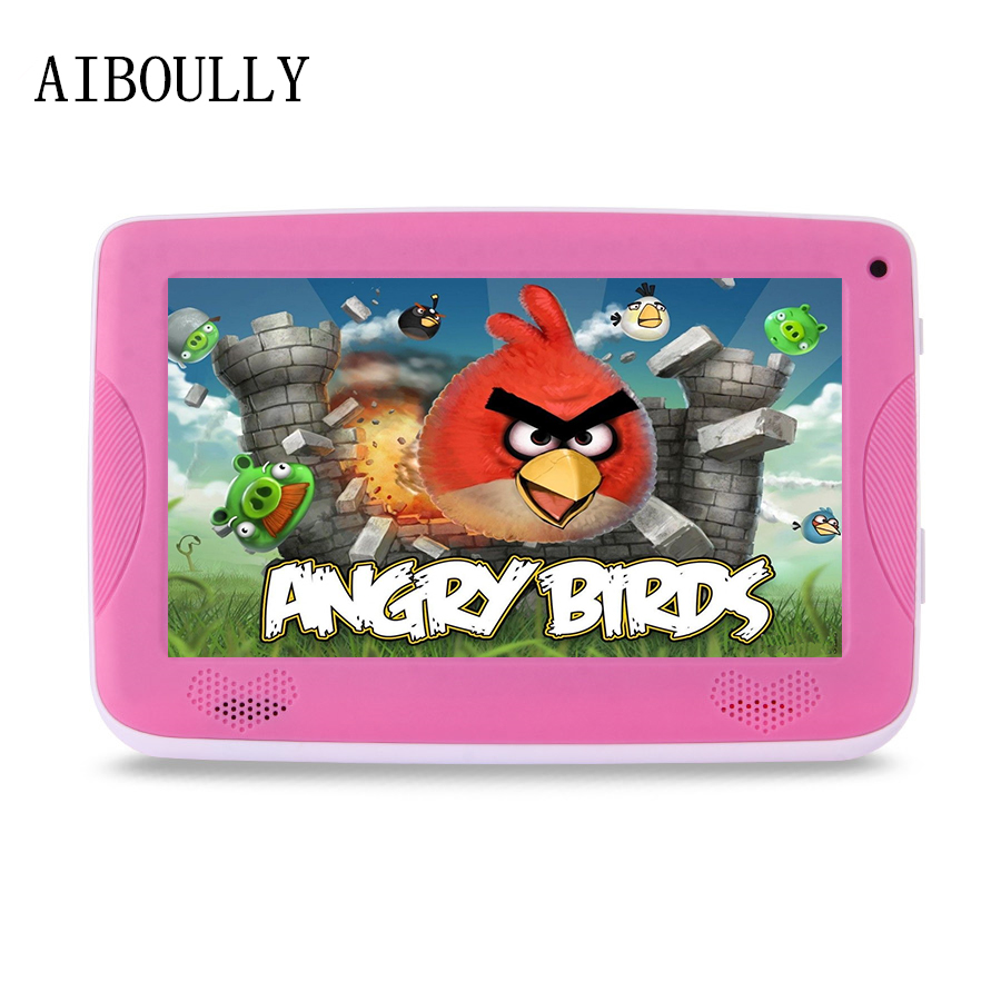лучшая цена AIBOULLY Original 7 inch Tablet PC Android 6.0 Quad Core 1GB RAM 512 Dual Camera WiFi Kids Tablets with Cute Silicone Case 8''