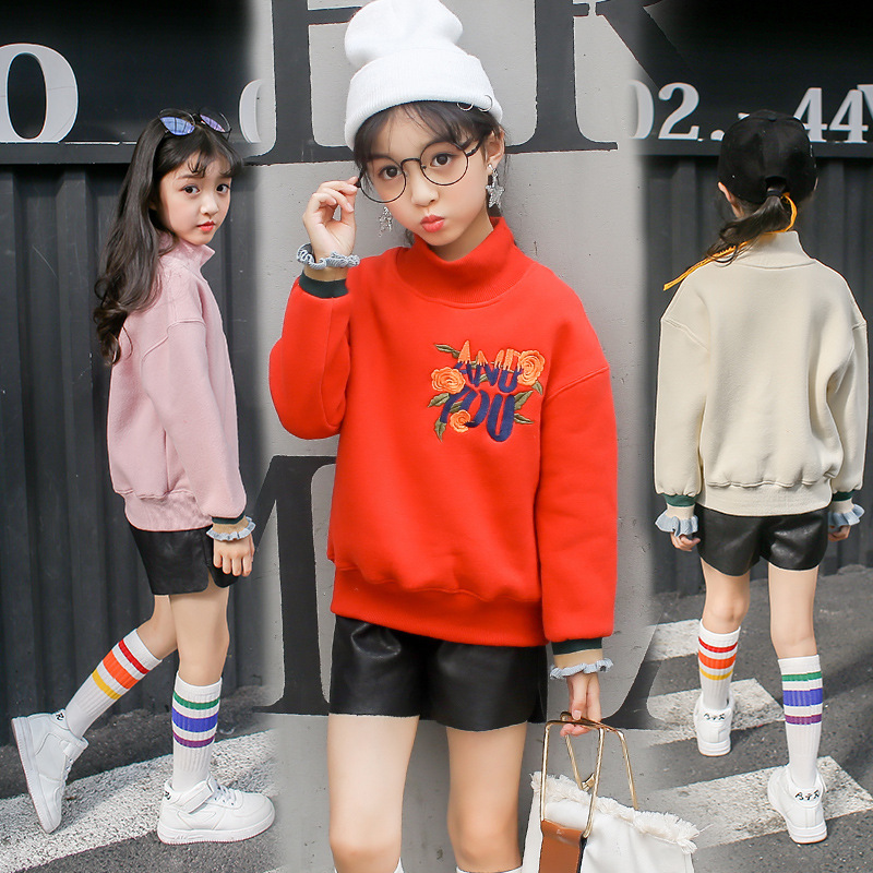 2018 New Children Hoodies Girls T Shirt Kids Fleece Thick Hoodie Long Sleeve Thick Sweatshirts Kid's Cartoon Girls Tshirt