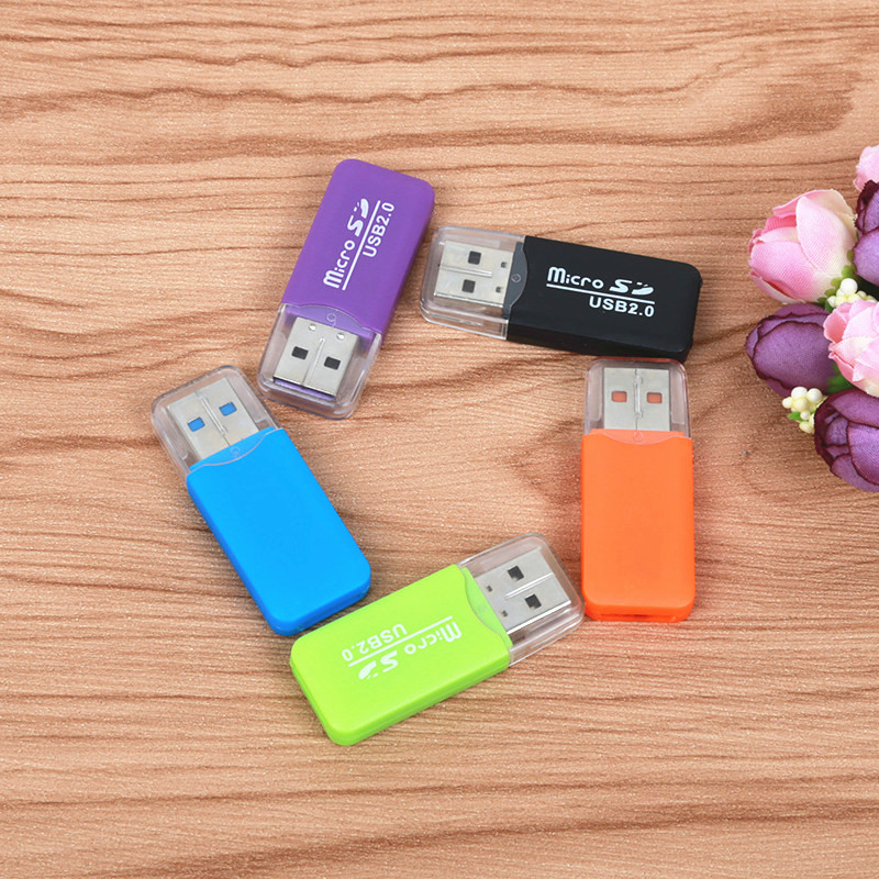 FFFAS Colorful External Cardreader Mini USB 2.0 Card Reader For Micro SD Card TF Card For PC MP3 MP4 Player Adapter Computer