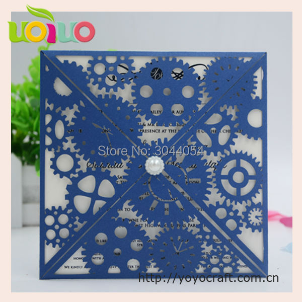 Exceptional Hot Sell Royal Blue Unique Four Folds Wedding Invitation Card With Pearls  2017 Luxurious Wedding Invitation Card Free Sample