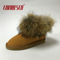 COVIBESCO Women Fashion Australia Winter Real Fox Fur Genuine Leather Snow Boots Women S Shoes Warm